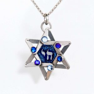 Seeka Blue Star Of David And Chai Necklace $65.00